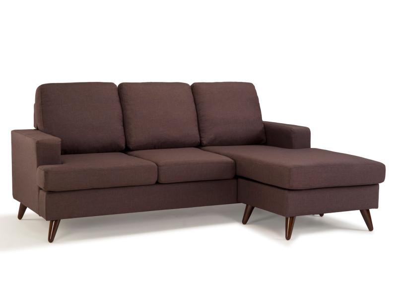 Lund canapé 3 places angle en tissu marron