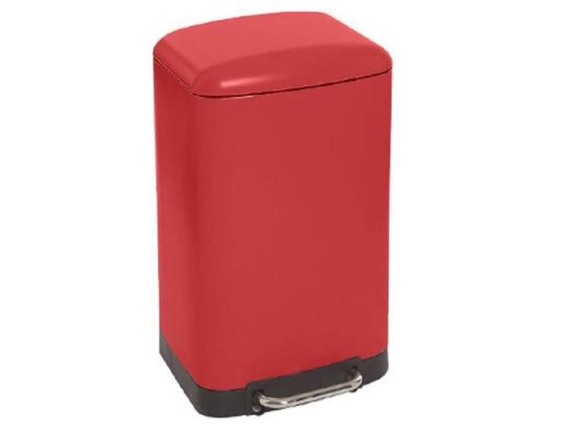 Poubelle rectangulaire à pédale coloris bordeaux - 30 litres -pegane-