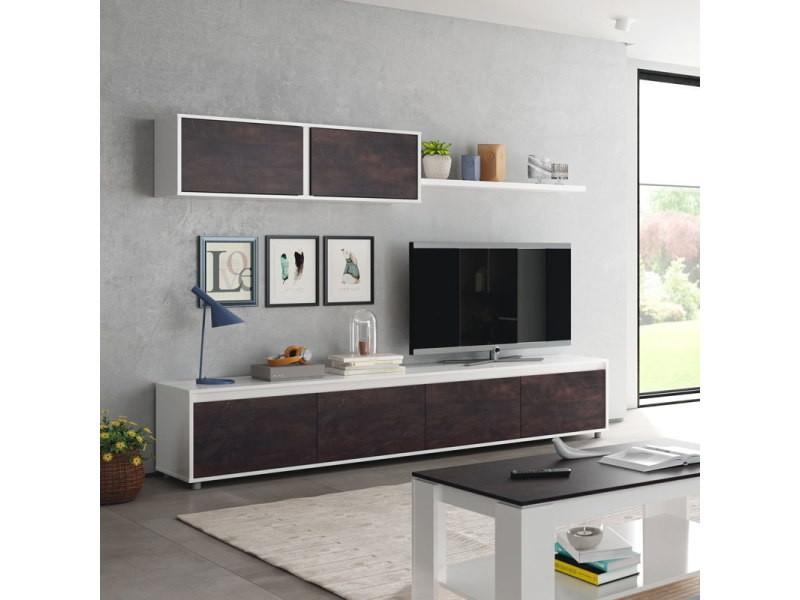 Ensemble meuble tv scandinave alino style industriel avec meuble haut et effet bois vieilli