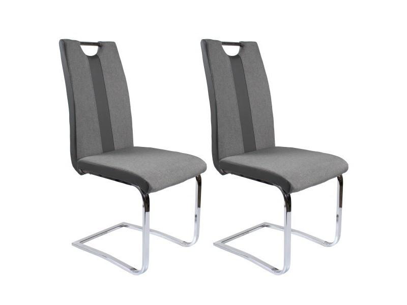 lot x2 chaises, mix tissu gris et pu gris, pieds chrome. Lot x2 Chaises, Mix tissu gris et PU Gris, pieds chrome.
