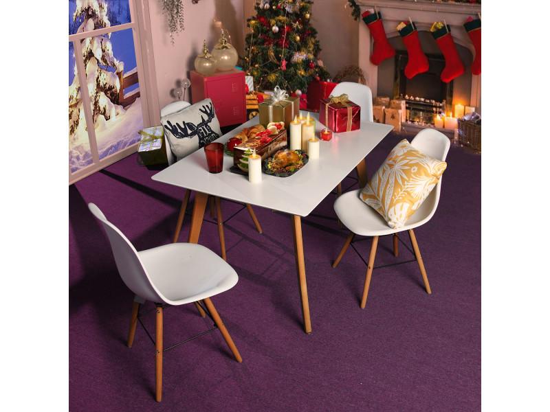 Ensemble table et chaises 4 places scandinave blanches plastique bois