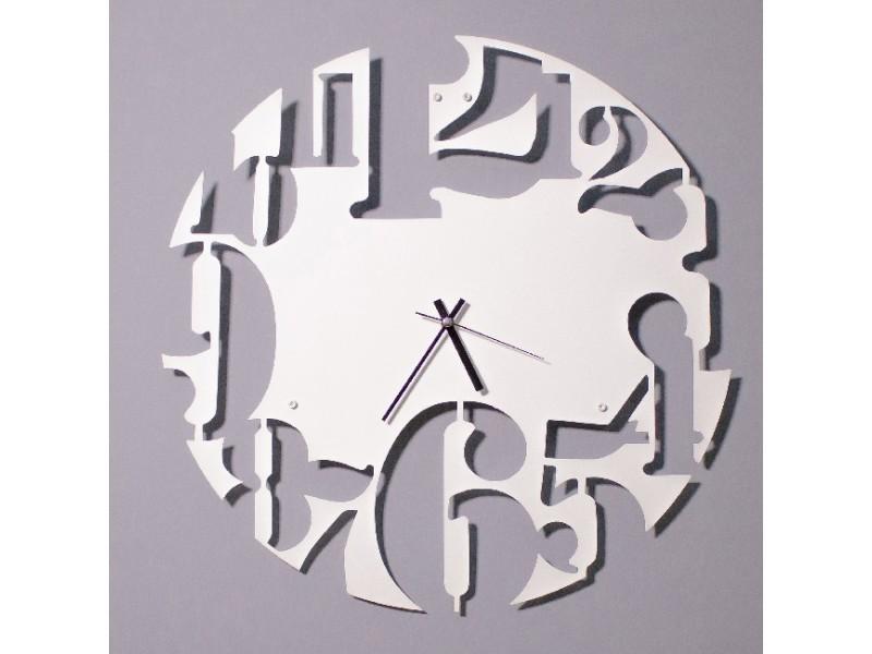 Homemania horloge de wall - rangement, livres - mur, salon, chambre - blanc en métal, 50 x 0,15 x 50 cm