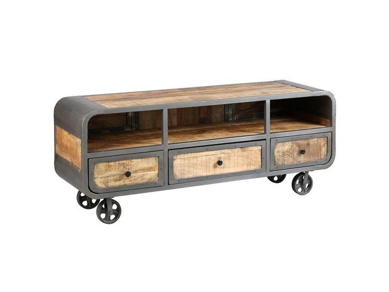 Edwin - meuble tv 3 tiroirs acier et bois massif