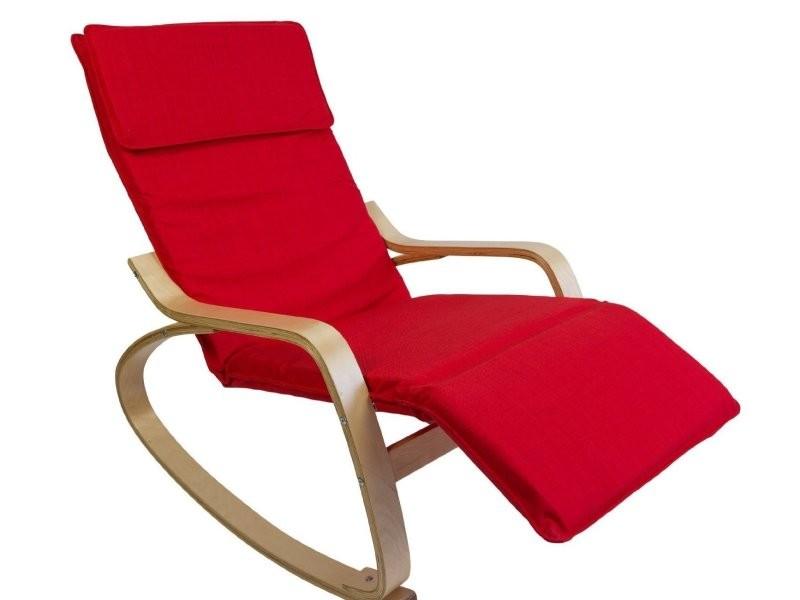 fauteuil bascule relaxation en bois clair coussin rouge fab06012 conforama. Black Bedroom Furniture Sets. Home Design Ideas