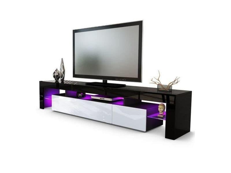 Meuble Tv Noir Et Blanc 189 Cm Avec Led Vente De Meuble Tv Conforama