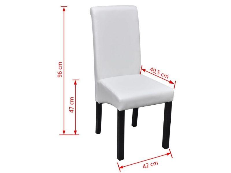 Vidaxl chaises de salle à manger 6 pcs blanc similicuir