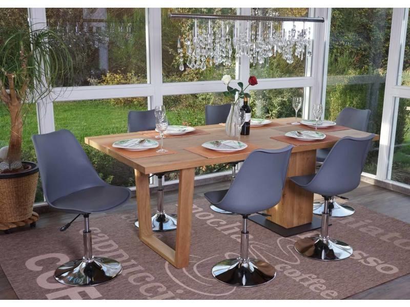 6x chaise pivontante malmö t501, hauteur réglable, cuir synthétique ~ gris foncé