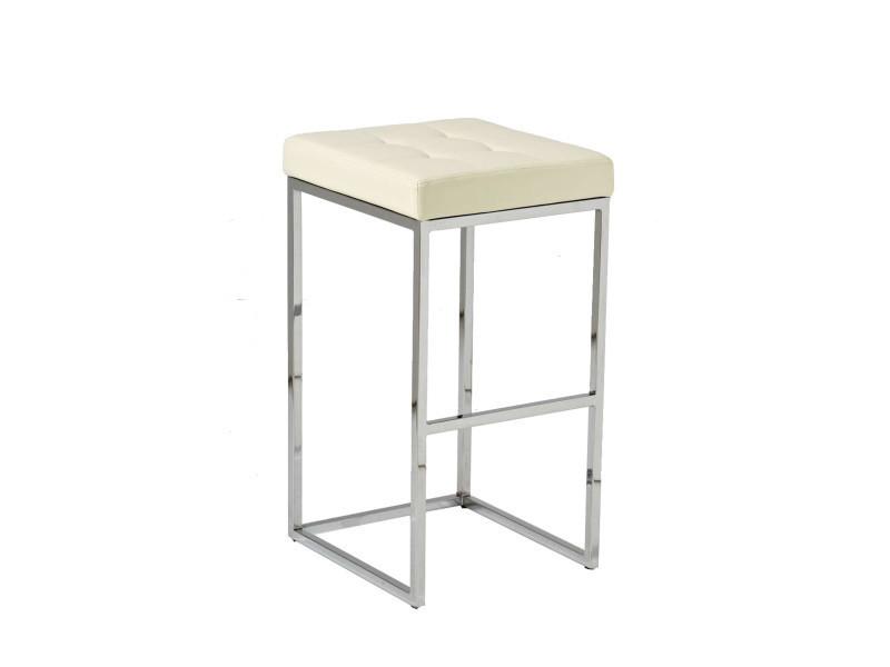 Tabouret de bar avec siège en polyuréthane coloris crème - 77 x 41 x 45 cm -pegane-