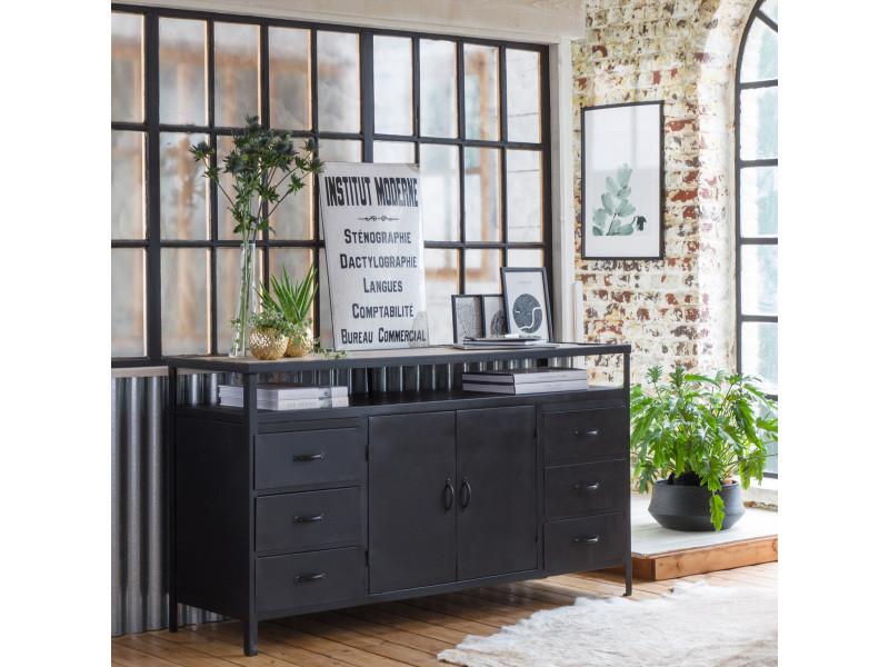 enfilade industrielle m tal et bois mim4355 bois blanchi. Black Bedroom Furniture Sets. Home Design Ideas