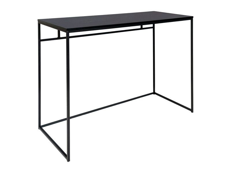 Harald - bureau acier noir et plateau bois noir