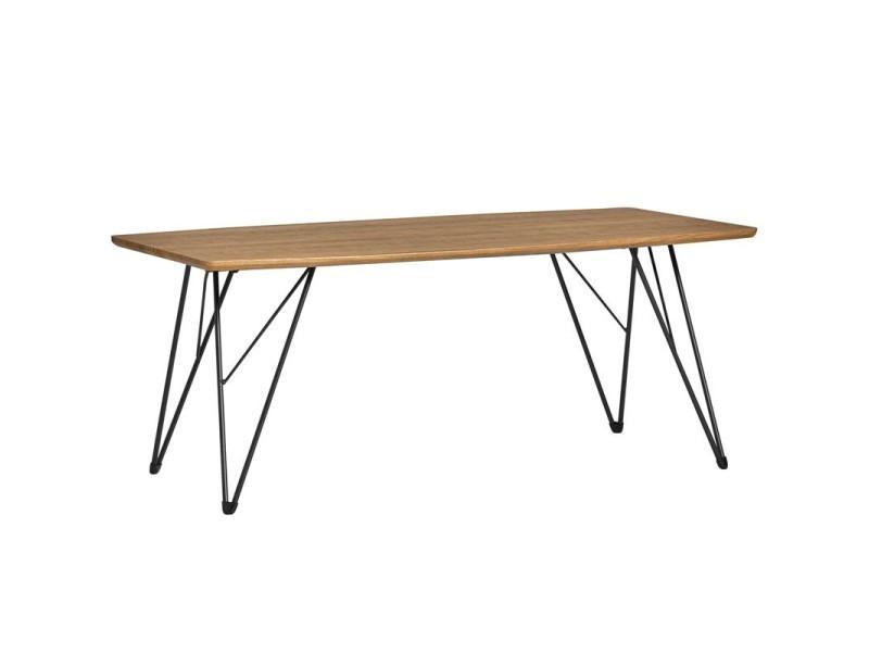 Table basse plateau bois et pieds métal - sarabi - l 110 x l 60 x h 45 - neuf