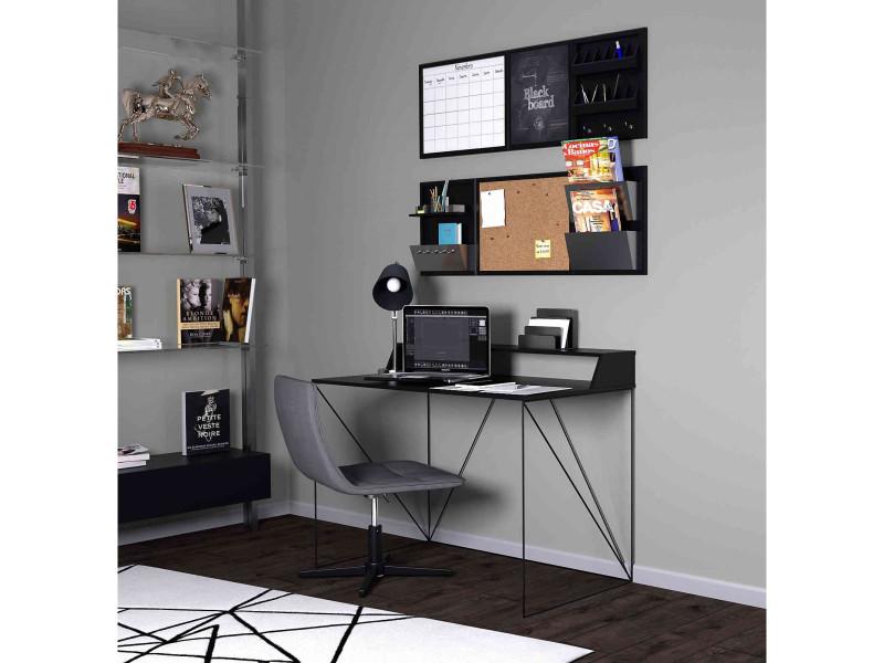 Bureau avec structure métallique noire et plateau en bois gris