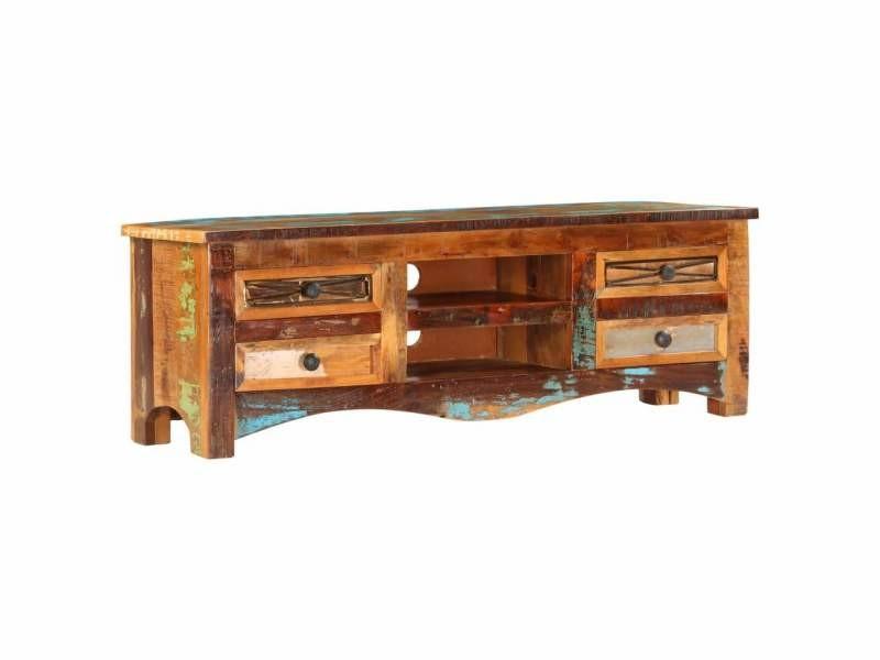 Meuble télé buffet tv télévision design pratique 120 cm bois de récupération massif helloshop26 2502283/2