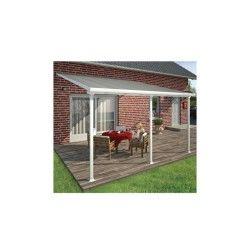 Toit de terrasse 400x400cm en alu blanc et polycarbonate 8mm patio