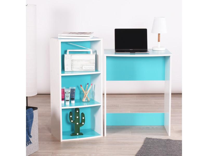 Ensemble de bureau et étagère de rangement turquoise & blanc