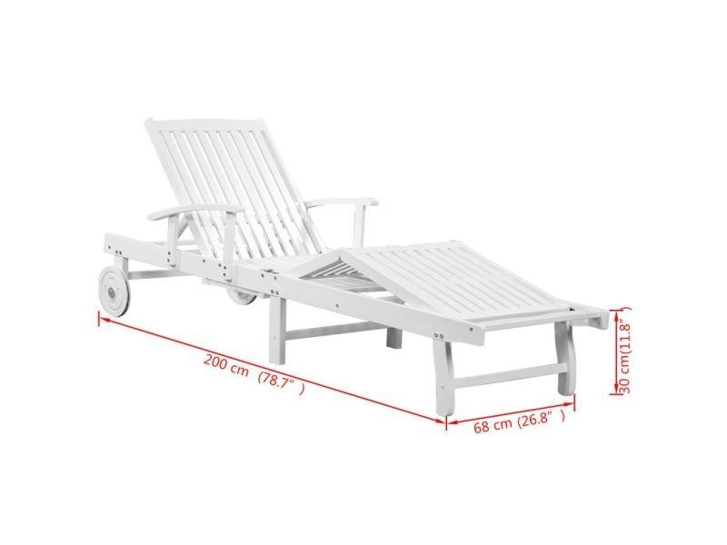 Blanc Vidaxl Chaise Solide Longue Roues D'acacia Avec Bois 42685 5jqRc34ALS