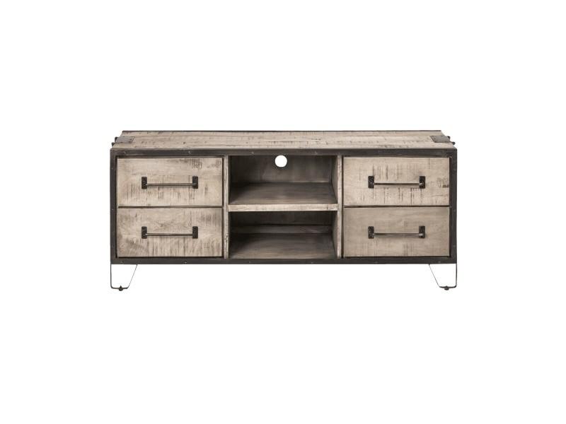 Meuble tv industriel bois et métal, 4 tiroirs, 2 niches | if665