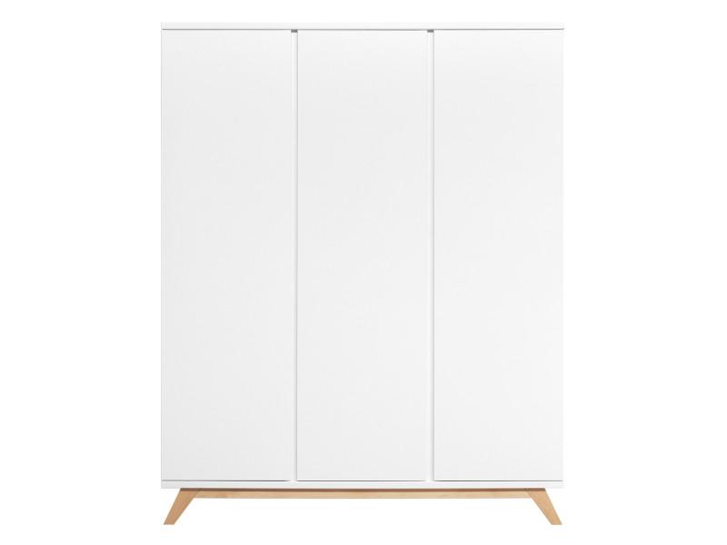 Armoire 3 portes lynn - blanc et bois