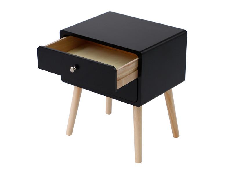 Une table de chevet, table de nuit hombuy - style scandinave - noir