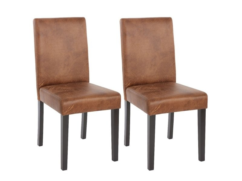 Lot de 2 chaises de salle manger simili cuir marron - Conforama table et chaise salle a manger ...