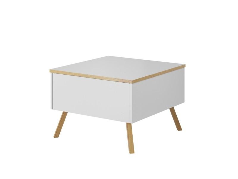 Table basse / table de salon - DINOSTO - blanc / bois - forme carrée