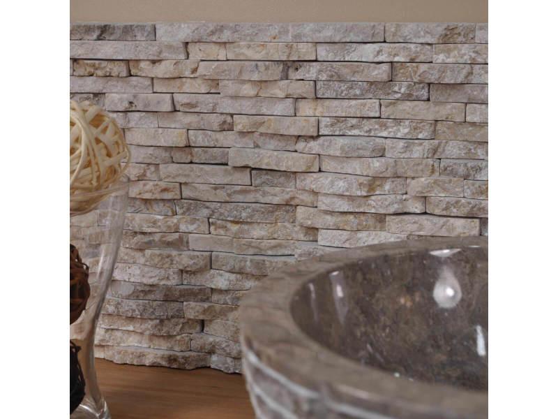 Parement en pierre naturel marbre brut crème susuncreme