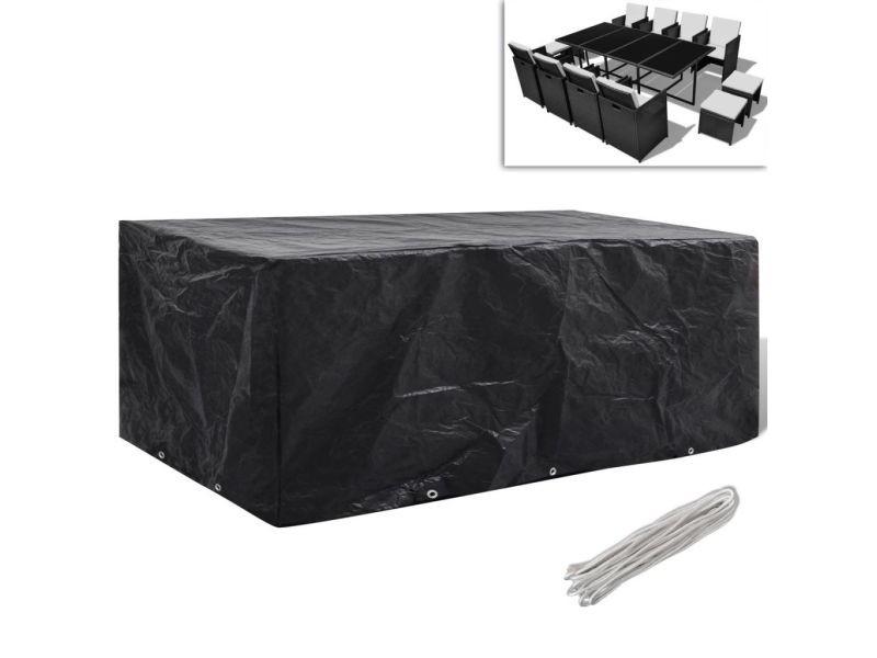 Esthetique accessoires pour meubles d'extérieur categorie sofia housse à 10 œillets 229x113cm pour salon de jardin en polyrotin 8 pers