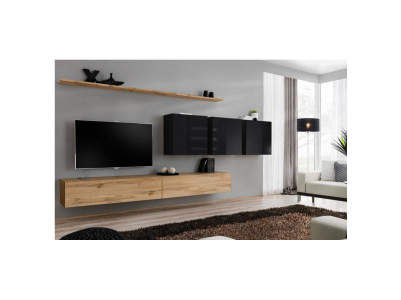 Ensemble mural - switch vii - 3 vitrines carrées - 2 bancs tv - 2 étagères - bois et noir - modèle 1