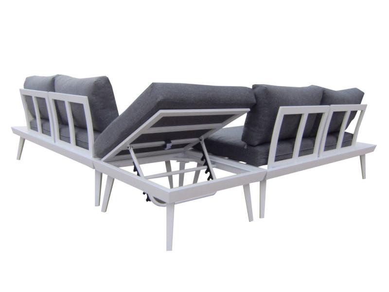 bobochic vigo - salon de jardin en angle - 5 places - aluminium ...