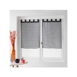 Une paire de rideau voilage 60 x 90 cm coupe dandy anthracite