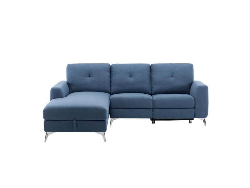 Canapé d'angle gauche avec 1 place relax électrique + coffre - tissu bleu - l 260 x p 51 x h 90 cm - franklin BOFRANKLIND8515G