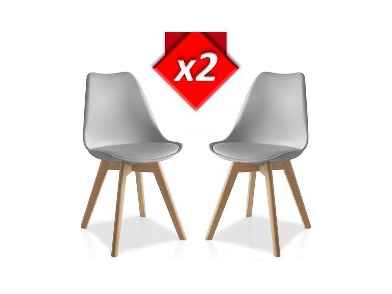 Set 2 chaises lucia grises style scandinave