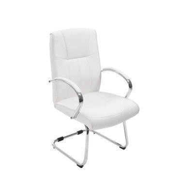 fauteuil chaise de bureau sans roulette en simili-cuir blanc ... - Chaise De Bureau Sans Roulettes