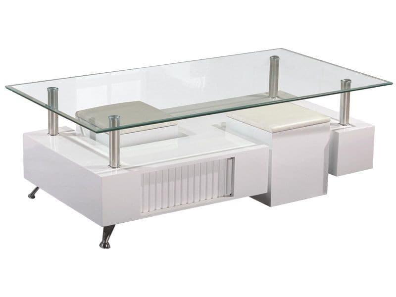 Table Basse Rectangulaire Avec 2 Poufs En Pvc Coloris Blanc