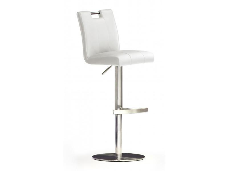 Tabouret de bar en pu socle rond en acier brossé, rotation 360° coloris blanc - dim : h 87-112 x 42 x 51 cm -pegane-