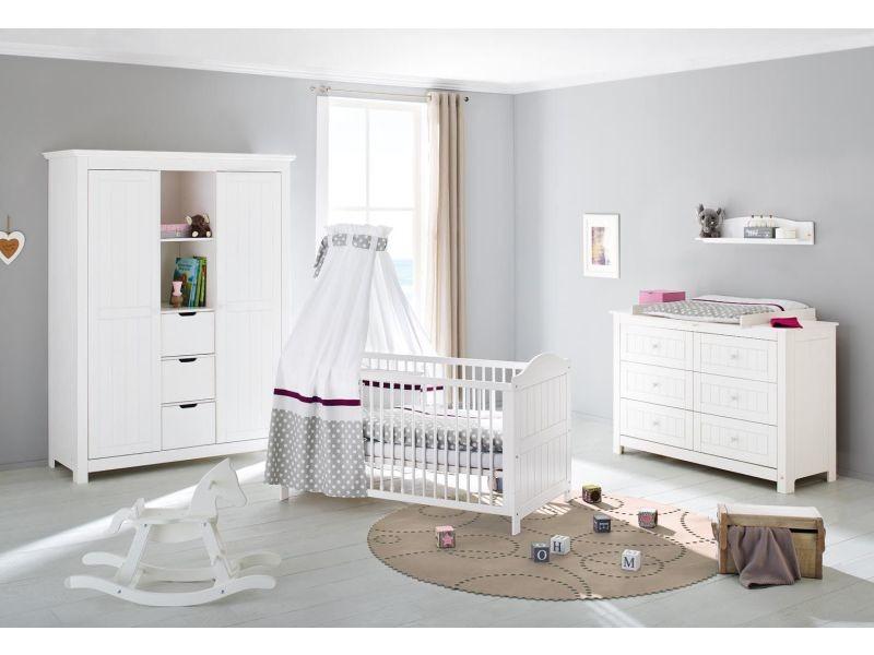 Set de 3 pièces pour chambre bébé avec lit évolutif 140x70 cm + ...