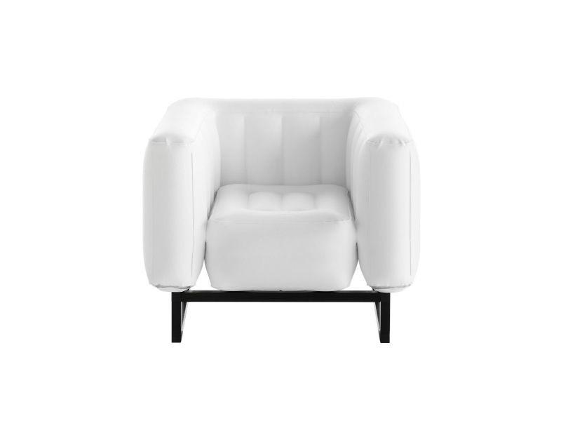Yomi - fauteuil en aluminium et pvc blanc opaque