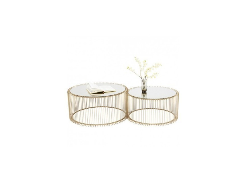 Set de 2 tables basses laiton et miroir wire