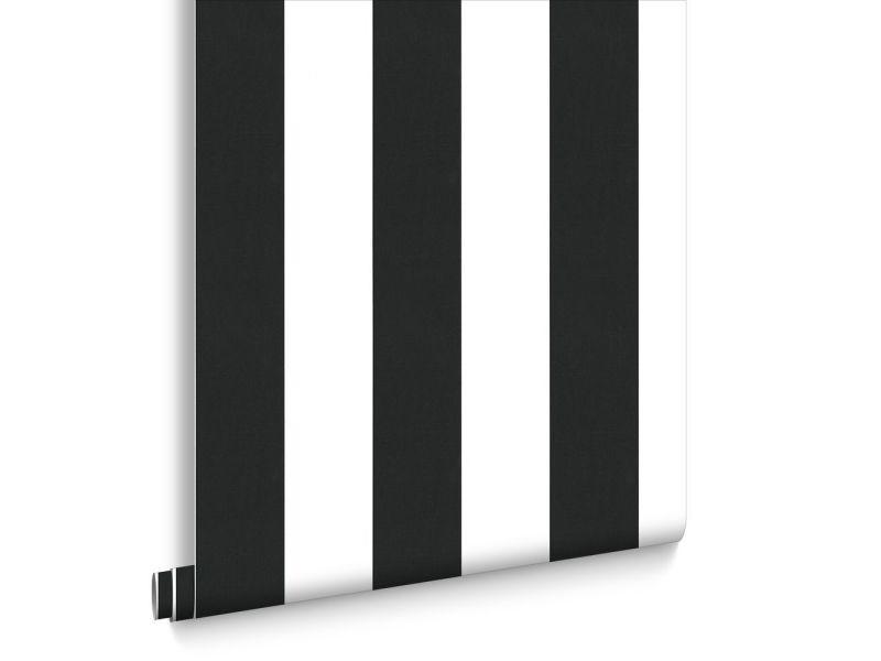 Papier peint intissé lynn rayures vinyle grainé 1005 x 52cm noir, blanc 33-184