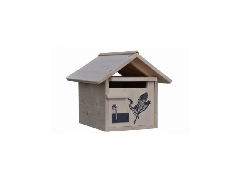 Boite aux lettres bois creastuce : heron, 1 porte