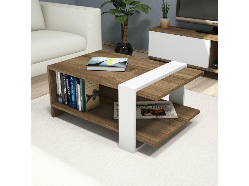 Table basse design scandinave gaye - l. 80 x h. 35 cm - marron noix