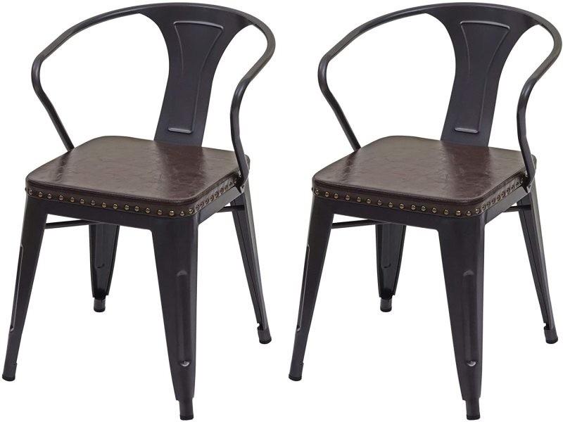 2x chaises de salle à manger cuisine en simili cuir et métal style industrielle marron noir cds04451