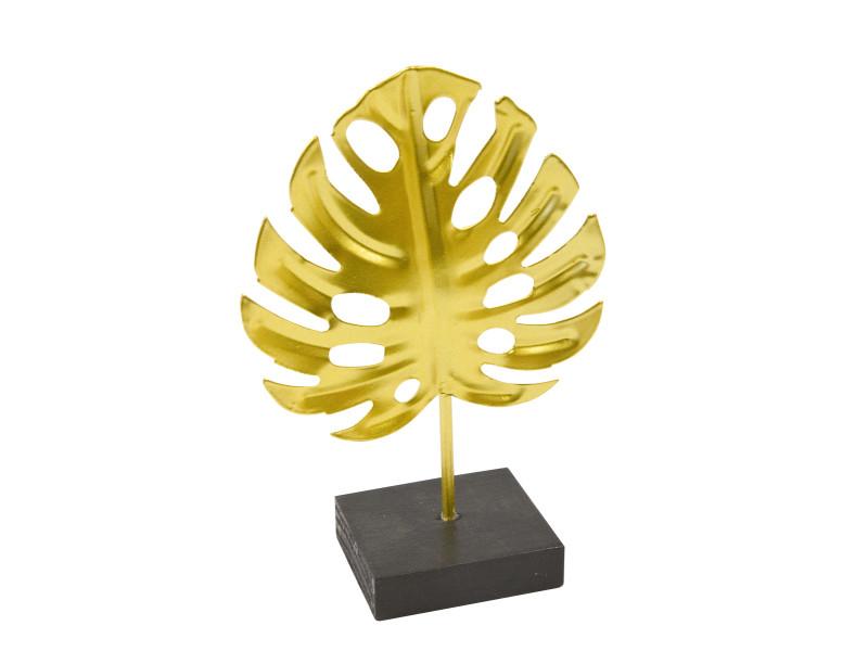 Lot de 6 centres de table feuille tropicale en métal doré sur socle - 15 x 10 cm VISIODIRECT