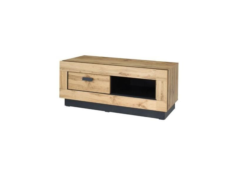 Meuble tv design malaga petit modèle. Idéal pour votre salon. Look moderne et tendance type industriel, bois et métal.