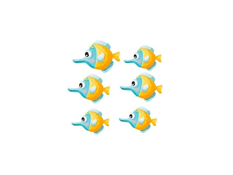 Stickers mer : banc de poissons globuleux - format : 30 x 17 cm
