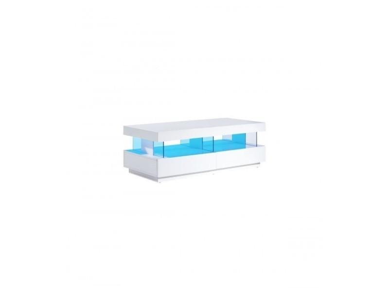 Table basse led laqué blanc brillant 120cm 2 tiroirs malea