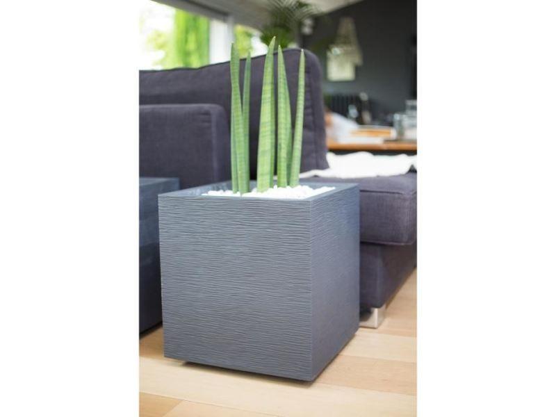 Icaverne jardiniere - bac a fleur eda pot carré graphit - 39 x 39 x 43 cm - 35 l - gris anthracite