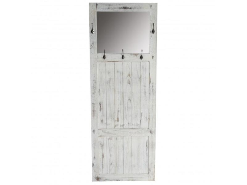 Porte manteau meuble d 39 entr e avec miroir 180x65x7cm blanc vintage med04038 vente de porte - Meuble porte manteau conforama ...