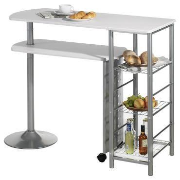 table haute de bar josua mdf décor blanc - vente de table - conforama