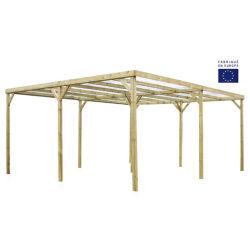 Double carport 30m² en pin traité autoclave et toit en pvc